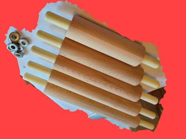 Скалка деревянная с вращающимися ручками